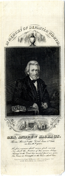 Andrew Jackson Portrait Mourning Ribbon