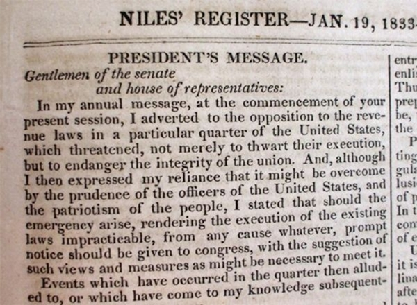 President Jackson Responds to South Carolina's Nullification Acts