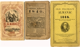 Three Early Almanacs from 1840, 1860, 1861