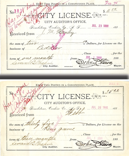A Pair of 1881 Tombstone City Business Licenses