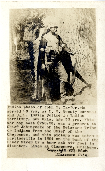 Indian U.S. Deputy Marshal with War Cap from Chief Johnnycake of the Delaware Tribe