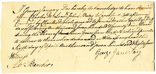 Colonial 1784 Land Sale Document