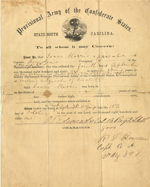 Discharge From the Provisional Army of the Confederate States