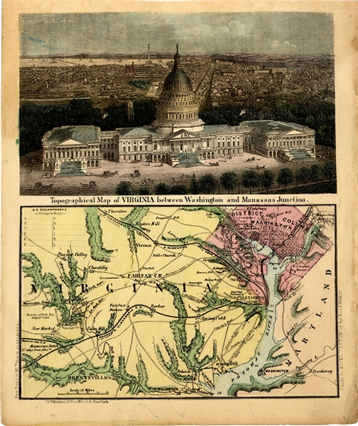 Beautiful Hand Tinted Letter Sheet - Washington to Manassas