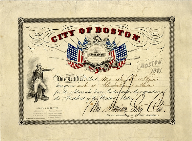 Colorful 1861 City of Boston Committee on Military Donations Certificate.