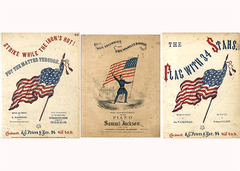 Three Music Sheets With Old Glory