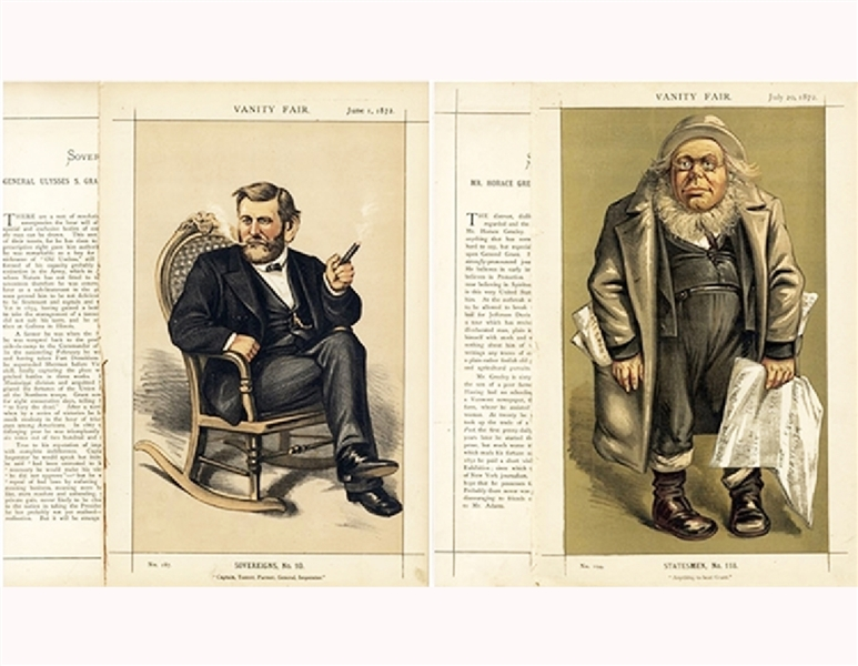 Vanity Fair Prints of The 1872 Presidential Candidates Horace Greeley & Ulysses S. Grant