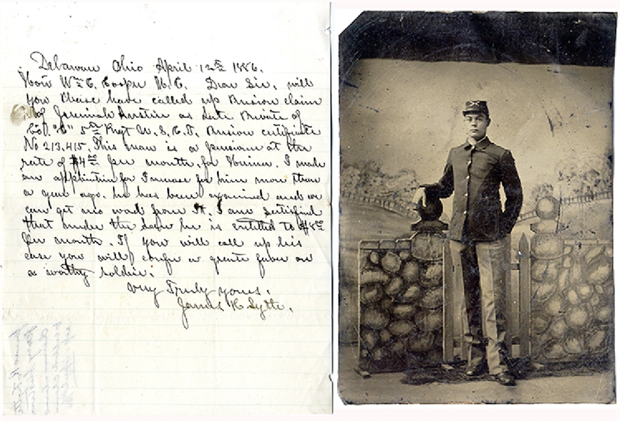 Black Soldier Photograph and Letter