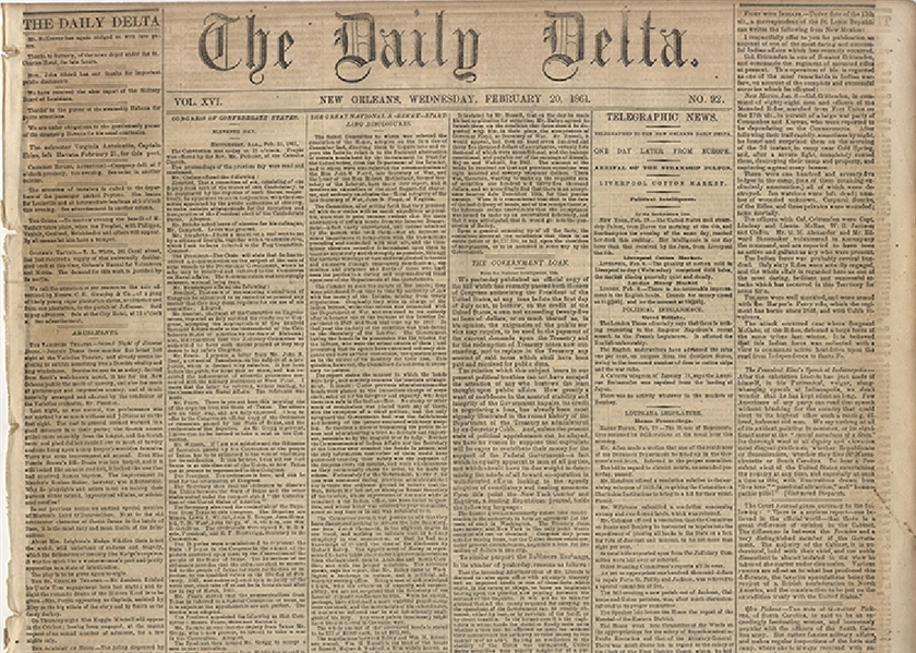 The Following Eight lots are Confederate Printed, War-dated, Newspapers. The scarcity of Confederate newspapers is well established based on the lack of available rag paper  from which to publish...