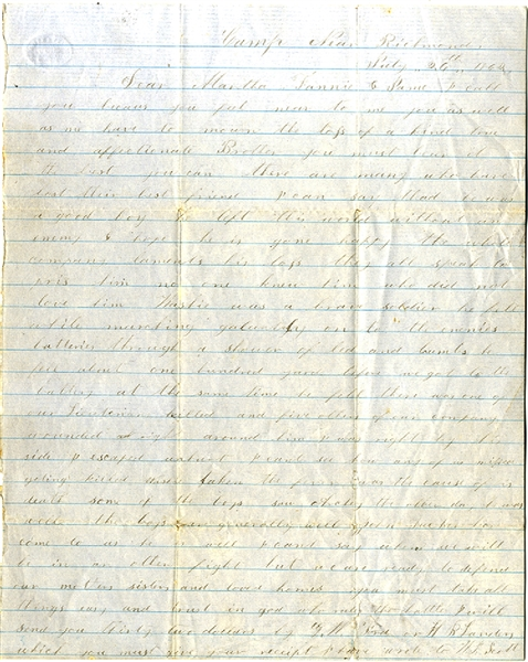 An 18th Georgia Infantryman's Condolence Letter After His Soldier Brother Is Killed During The Battle of Gaines Mill.