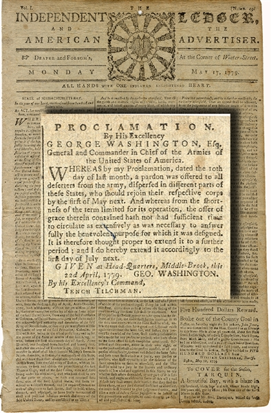 Revolutionary War Newspaper With General George Washington Content