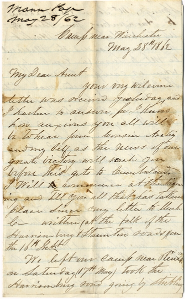 Epic Stonewall Jackson Valley Campaign Letter: For The First Time…I Saw Old Jack Smile As He Dash[ed] Along Through…Winchester.