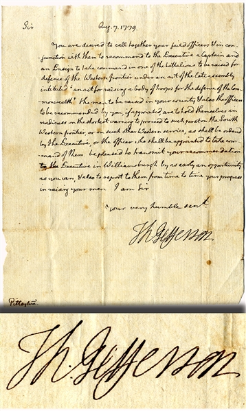 Thomas Jefferson Orders Officers for the Militia to Defend Western Virginia During the Revolution