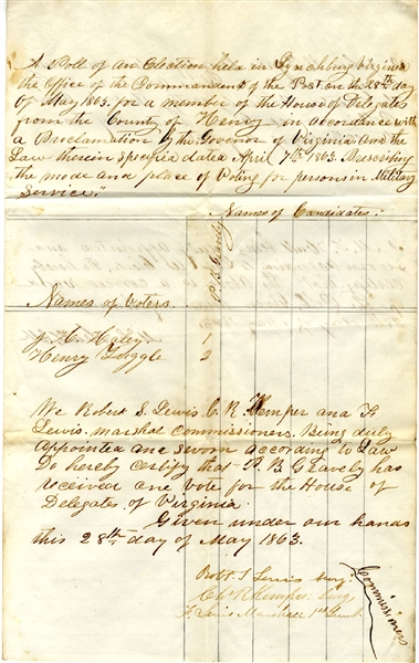 Confederate Military Election Return Signed by Confederate surgeon