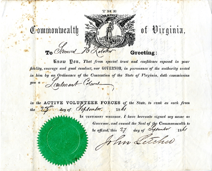 Governor Letcher Commissions his Son Samuel Houston Letcher as Lieutenant Colonel with Lengthy Oath by Lt. Col. Letcher on Verso Swearing his Allegiance to the Confederate States of America