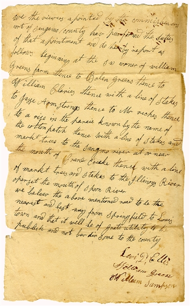 Rare Document Related to Abraham Lincoln's Early Days in Illinois