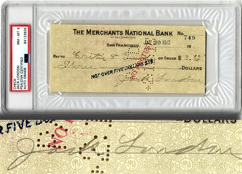 Jack London Signed Check