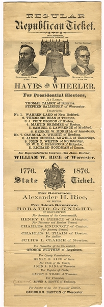 Huge 1876 Election Ticket