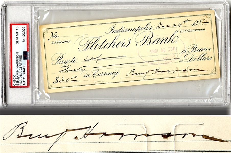 Check Signed by Benjamin Harrison