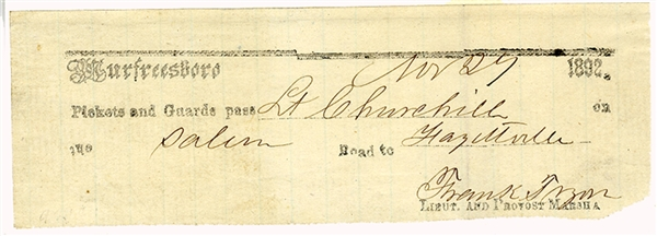 Scarce Field Printed Murfreesboro Pass Signed by 2nd Kentucky Lt. Mortally Wounded at the Battle of Murfeesboro