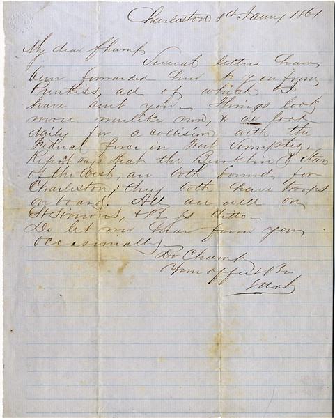 Fort Sumter 1861 Letter