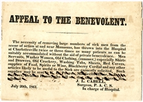 Appeal to the Benevolent Broadside - Seeking Slaves and Supplies at Manassas 1861