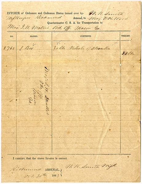 Richmond Arsenal Document Signed by John William Mallet at the Confederate States Central Laboratory in Macon, Ga.