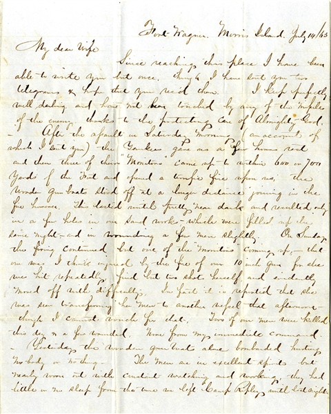 Confederate Colonel of the 1st Georgia Infantry Writes from Fort Wagner with Content on Shelling by Monitors