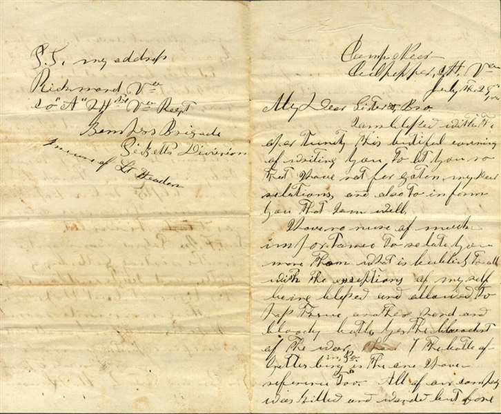 Member of Pickett's Division Writes of the Devistation at Gettysburg