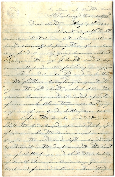 Outstanding Battle of the Crater Letter by a Member of the 48th Georgia Infantry with Content on Killing Negroes and Yanks in Hand to Hand Combat