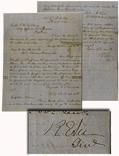 General Robert E. Lee Signed Document  regarding Union  Navy Placing Torpedos in the River
