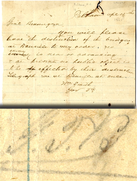 War Date telegram by Governor Smith to Beauregard with the General's Initials