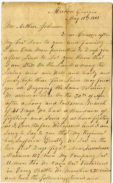 6th Kentucky Cavalry Letter About Burning Alabama and Georgia