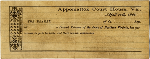 Unused Appomattox Parole Pass