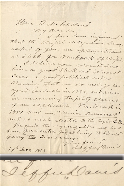 Good Political Content Jefferson Davis Autograph Letter Signed as Secretary of War