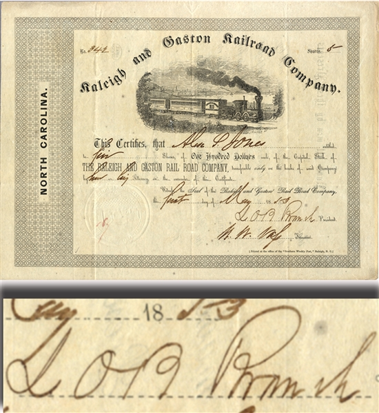 Railroad Stock Signed by General Lawrence O'Bryan Branch