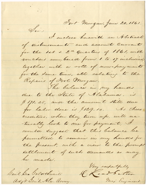 Rare Confederate General Danville Leadbetter Letter On Repairs To Fort Morgan, Alabama