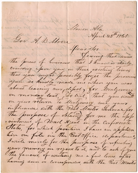 An Early Confederate Post Master's Application Letter