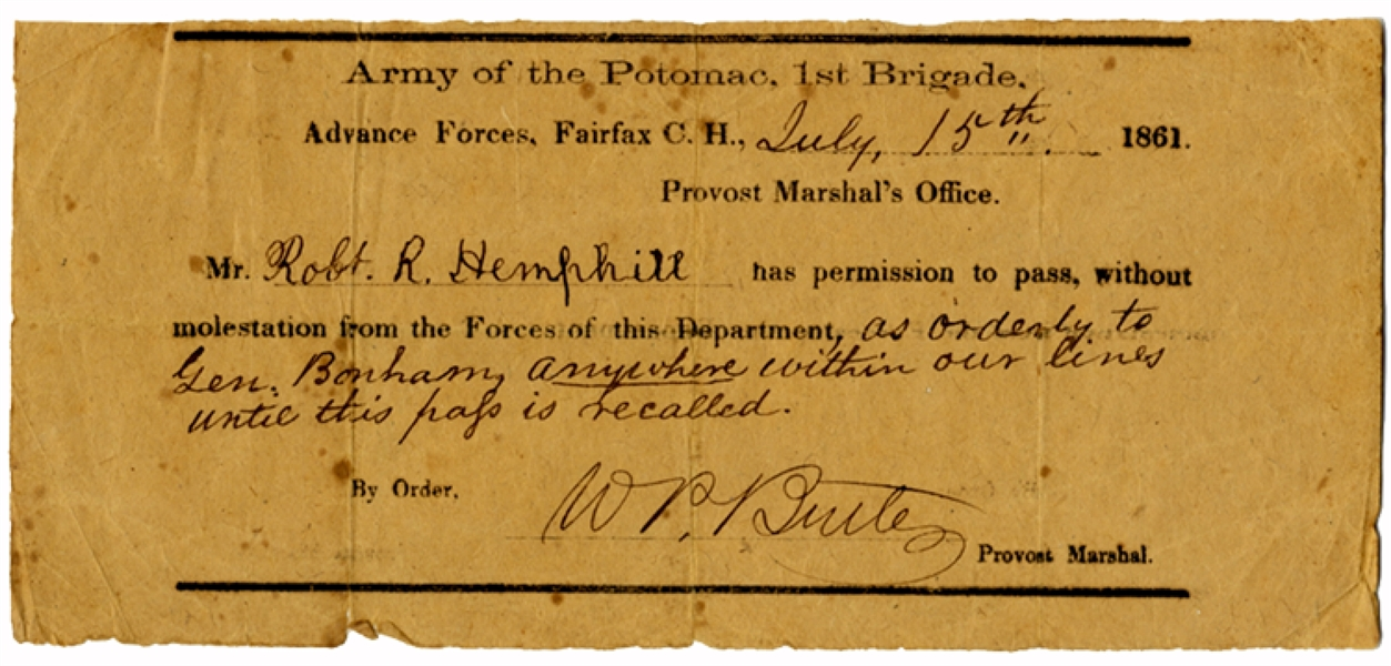 1st South Carolina Pass on Army of Potomac Imprint