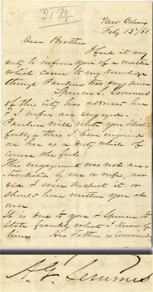 Letter Written to Paul Semmes by His Half Brother, A.G. Semmes Regarding the Marriage of His Son, Spencer Semmes Only Weeks After Louisiana Secedes
