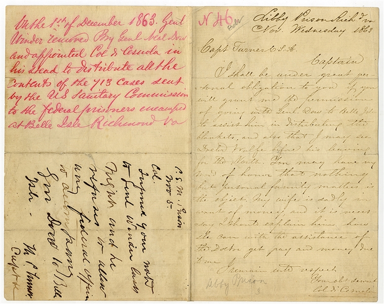 An Officer's Libby Prison Letter With The Commandant Response