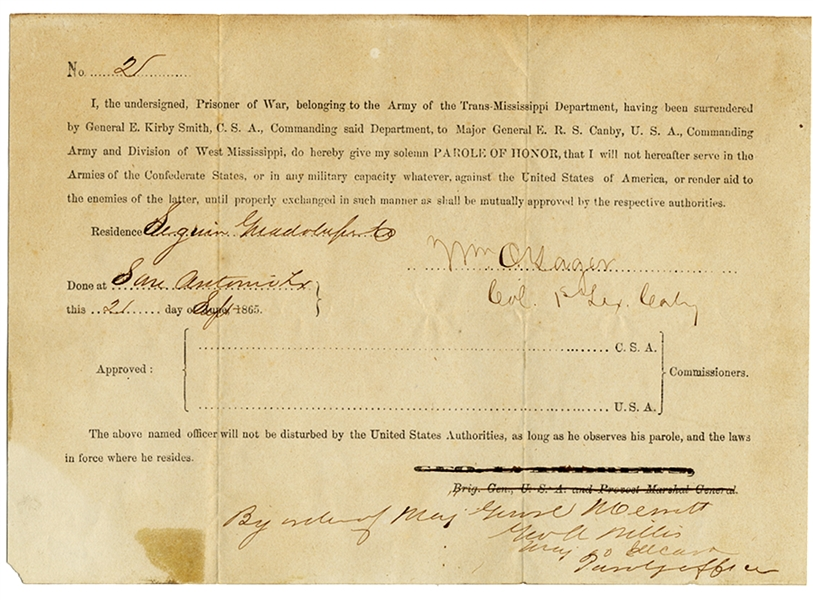 Rare TEXAS Parole of Honor For A Colonel - 1865
