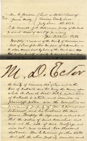 General Mathew Ector Signed Document
