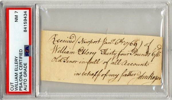 William Ellery Autograph Document Signed