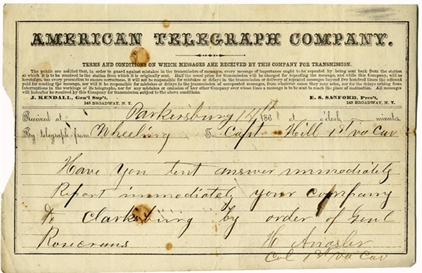 Battle Carnifax Ferry Campaign 1st (Loyal) Virginia Cavalry Telegram.