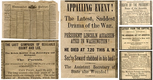 Newspaper  on Lincoln's Assassination