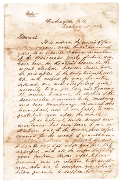 "1853 ""Sam Houston"" Signed Great Content Seven Page Autographed Letter as Texas Senator His Retained Copy"