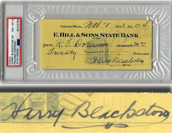 "Harry ""The Great"" Blackstone Signed Check"