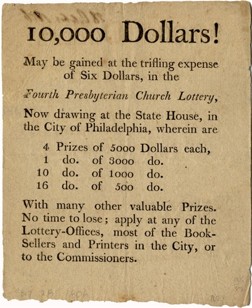 Philadelphia Church Lottery Broadside
