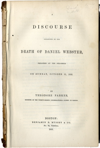 Discourse on the Death of Daniel Webster